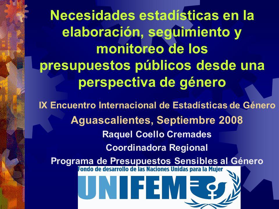 Necesidades estadísticas en la elaboración, seguimiento y monitoreo de los presupuestos públicos desde una perspectiva de género IX Encuentro Internac
