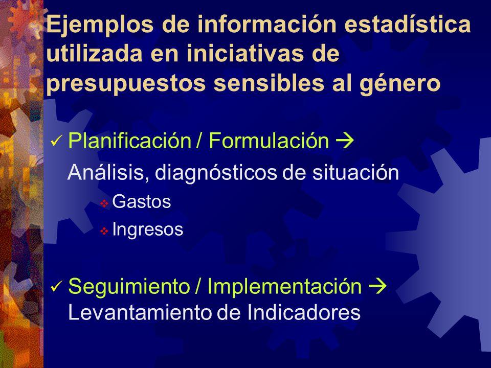 Planificación / Formulación Análisis, diagnósticos de situación Gastos Ingresos Seguimiento / Implementación Levantamiento de Indicadores