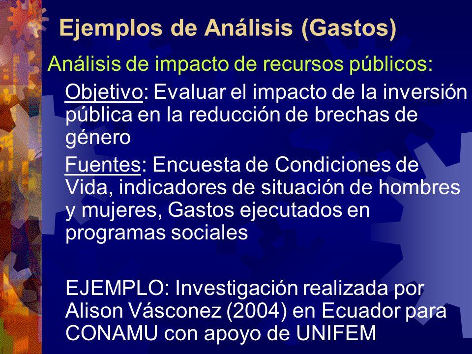 Ejemplos de Análisis (Gastos) Análisis de impacto de recursos públicos: Objetivo: Evaluar el impacto de la inversión pública en la reducción de brechas de género Fuentes: Encuesta de Condiciones de Vida, indicadores de situación de hombres y mujeres, Gastos ejecutados en programas sociales EJEMPLO: Investigación realizada por Alison Vásconez (2004) en Ecuador para CONAMU con apoyo de UNIFEM