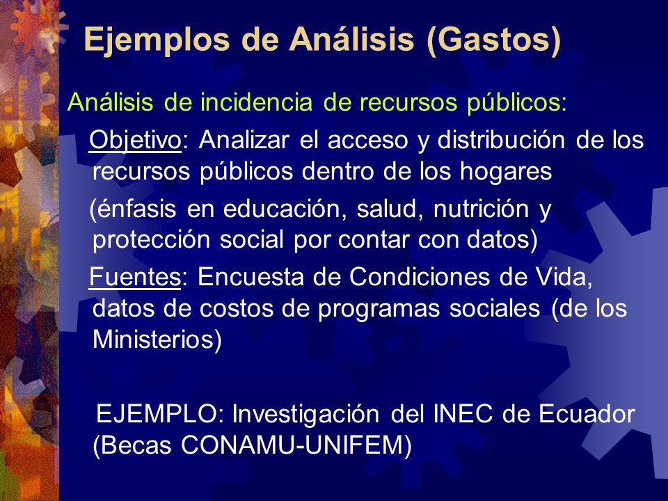 Ejemplos de Análisis (Gastos) Análisis de incidencia de recursos públicos: Objetivo: Analizar el acceso y distribución de los recursos públicos dentro de los hogares (énfasis en educación, salud, nutrición y protección social por contar con datos) Fuentes: Encuesta de Condiciones de Vida, datos de costos de programas sociales (de los Ministerios) EJEMPLO: Investigación del INEC de Ecuador (Becas CONAMU-UNIFEM)