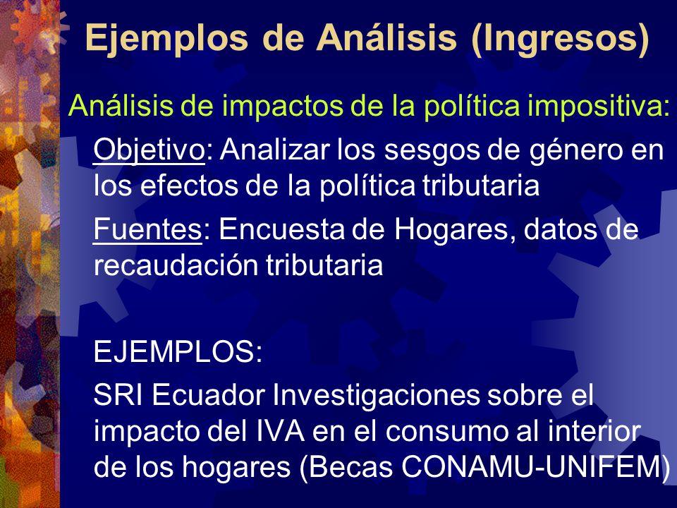 Ejemplos de Análisis (Ingresos) Análisis de impactos de la política impositiva: Objetivo: Analizar los sesgos de género en los efectos de la política