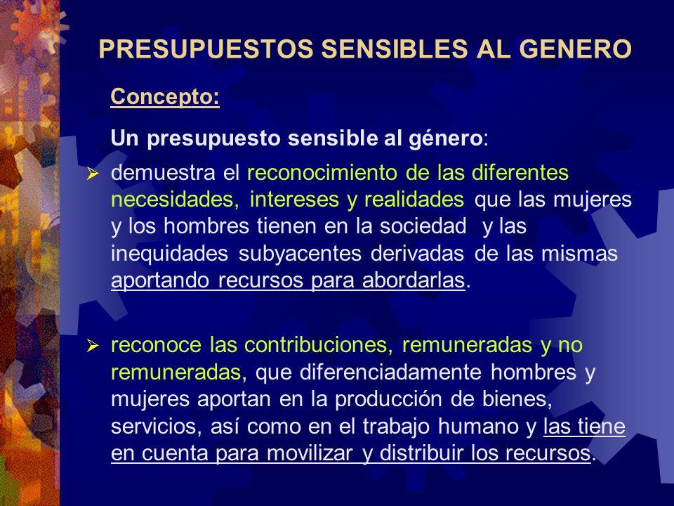 PRESUPUESTOS SENSIBLES AL GENERO Concepto: Un presupuesto sensible al género: demuestra el reconocimiento de las diferentes necesidades, intereses y r
