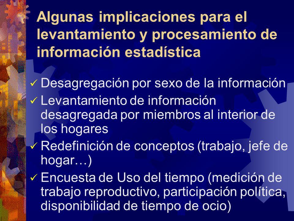 Algunas implicaciones para el levantamiento y procesamiento de información estadística Desagregación por sexo de la información Levantamiento de infor