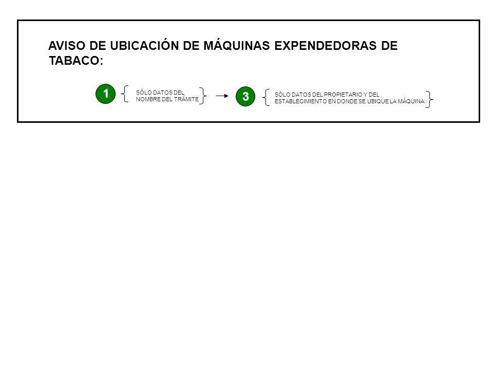 AVISO DE UBICACIÓN DE MÁQUINAS EXPENDEDORAS DE TABACO: 1 SÓLO DATOS DEL NOMBRE DEL TRÁMITE 3 SÓLO DATOS DEL PROPIETARIO Y DEL ESTABLECIMIENTO EN DONDE