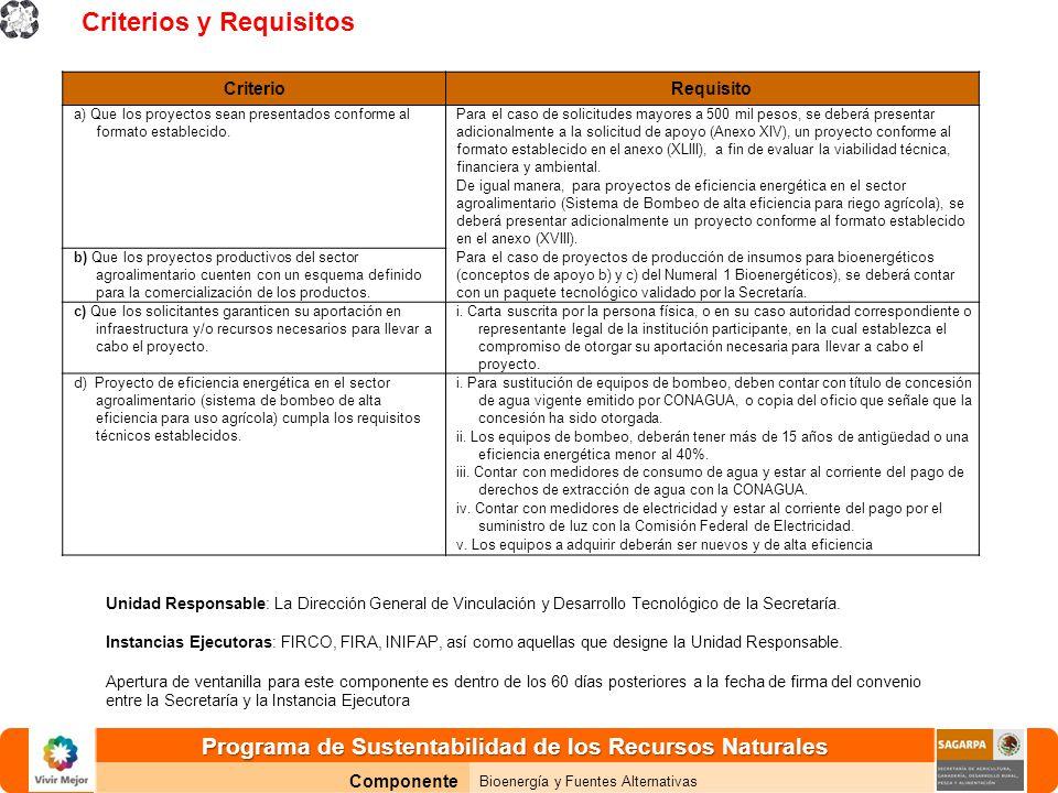 Programa de Sustentabilidad de los Recursos Naturales Componente Bioenergía y Fuentes Alternativas CriterioRequisito a) Que los proyectos sean presentados conforme al formato establecido.
