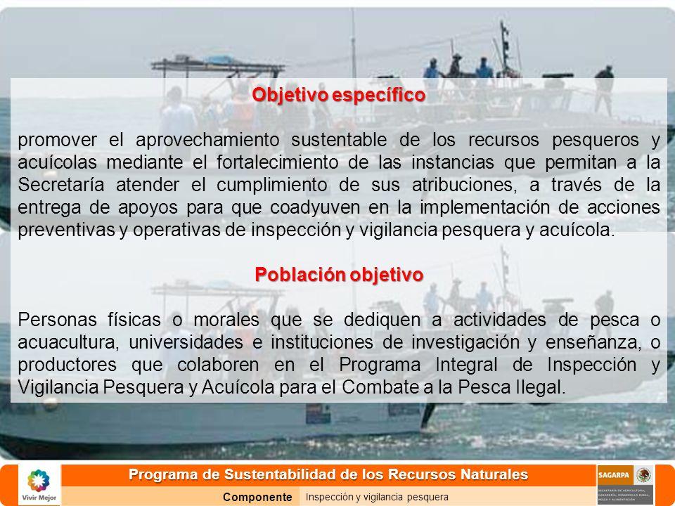 Programa de Sustentabilidad de los Recursos Naturales Componente Inspección y vigilancia pesquera Objetivo específico promover el aprovechamiento sust