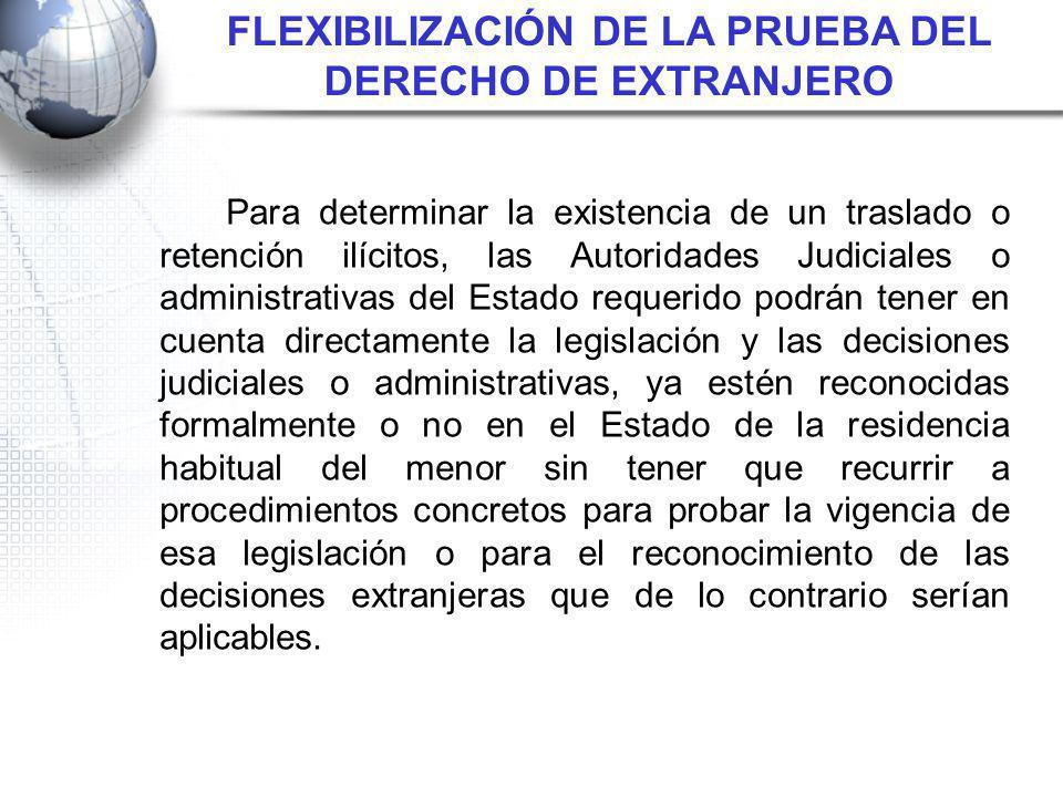 Para determinar la existencia de un traslado o retención ilícitos, las Autoridades Judiciales o administrativas del Estado requerido podrán tener en c