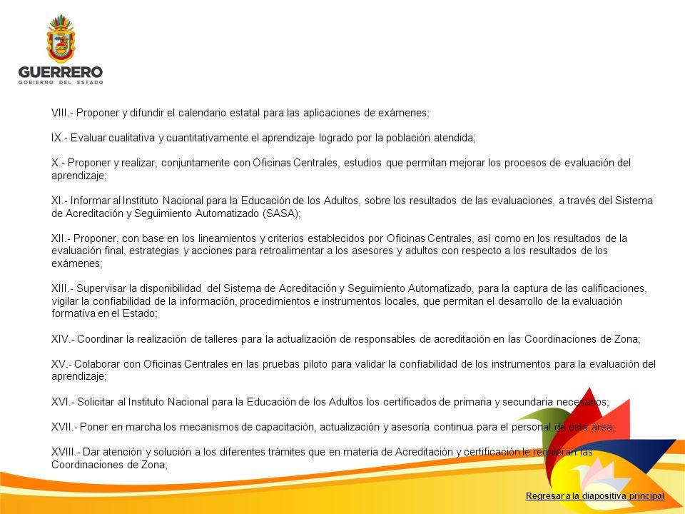Regresar a la diapositiva principal VIII.- Proponer y difundir el calendario estatal para las aplicaciones de exámenes; IX.- Evaluar cualitativa y cua