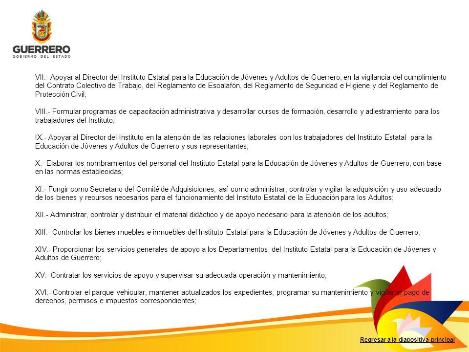 Regresar a la diapositiva principal VII.- Apoyar al Director del Instituto Estatal para la Educación de Jóvenes y Adultos de Guerrero, en la vigilanci