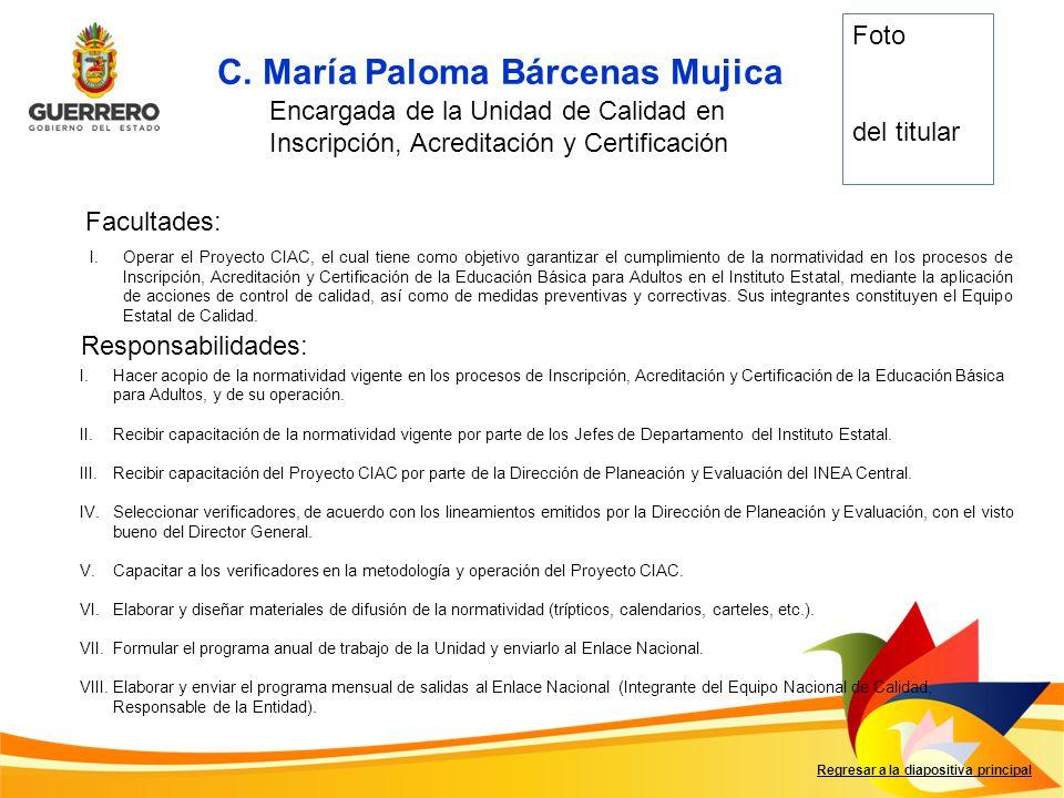 C. María Paloma Bárcenas Mujica Facultades: Responsabilidades: Regresar a la diapositiva principal Encargada de la Unidad de Calidad en Inscripción, A