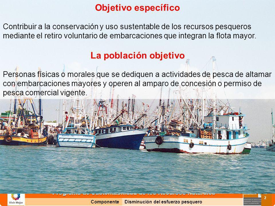 Programa de Sustentabilidad de los Recursos Naturales ComponenteDisminución del esfuerzo pesquero 2 Objetivo específico Contribuir a la conservación y uso sustentable de los recursos pesqueros mediante el retiro voluntario de embarcaciones que integran la flota mayor.