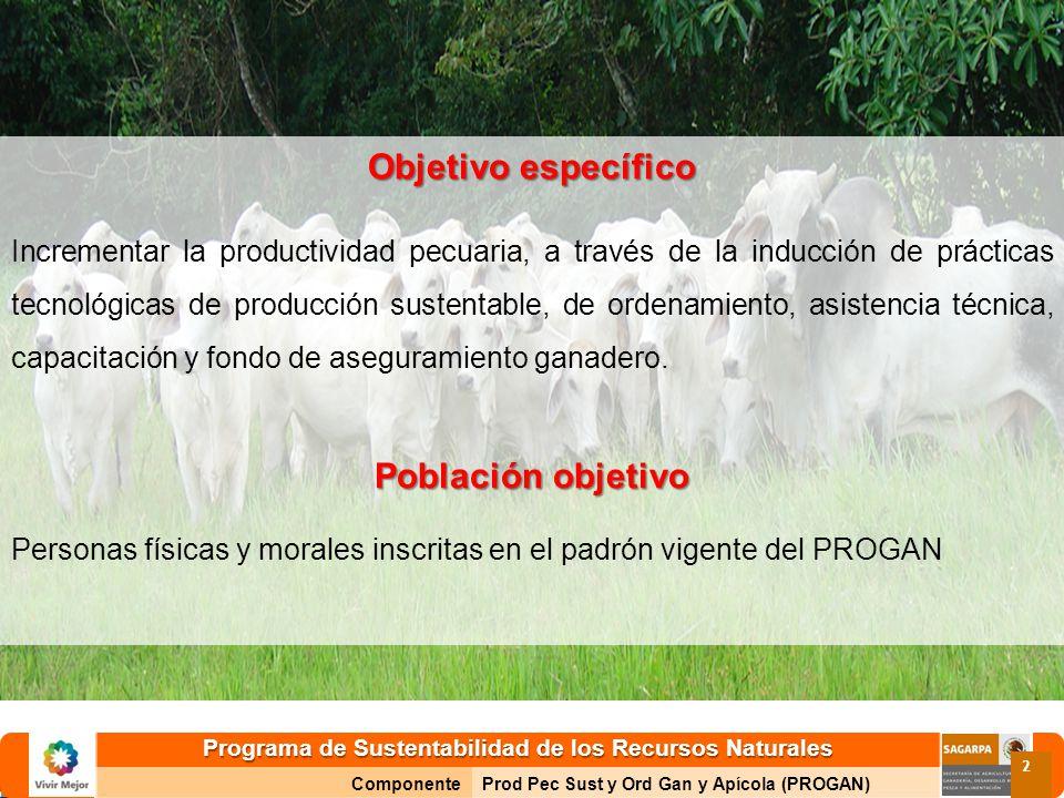 Programa de Sustentabilidad de los Recursos Naturales ComponenteProd Pec Sust y Ord Gan y Apícola (PROGAN) 2 Objetivo específico Incrementar la produc