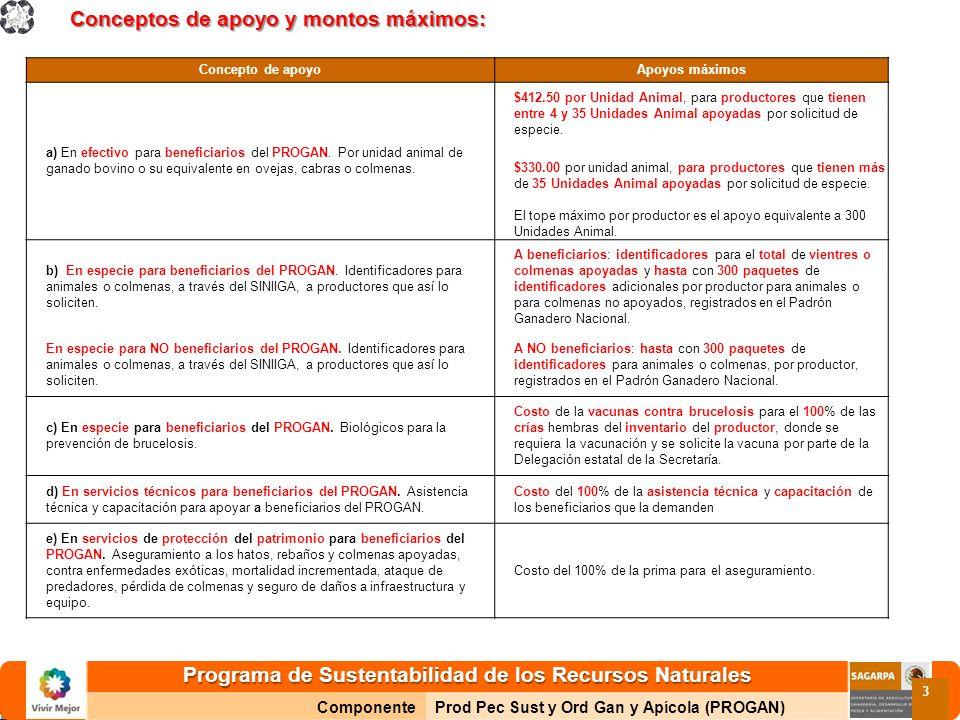 Programa de Sustentabilidad de los Recursos Naturales ComponenteProd Pec Sust y Ord Gan y Apícola (PROGAN) 3 Conceptos de apoyo y montos máximos: Conc