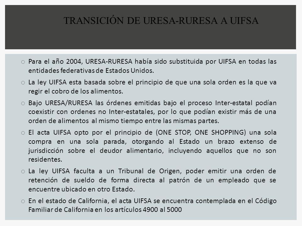 TRANSICIÓN DE URESA-RURESA A UIFSA o Para el año 2004, URESA-RURESA había sido substituida por UIFSA en todas las entidades federativas de Estados Uni