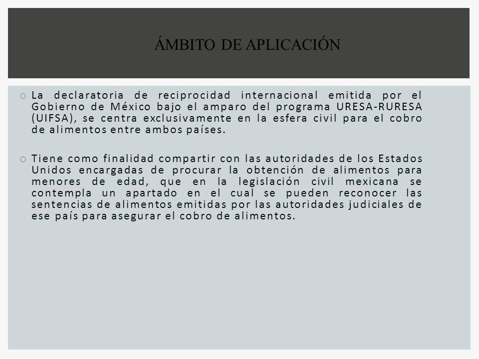 o La declaratoria de reciprocidad internacional emitida por el Gobierno de México bajo el amparo del programa URESA-RURESA (UIFSA), se centra exclusiv