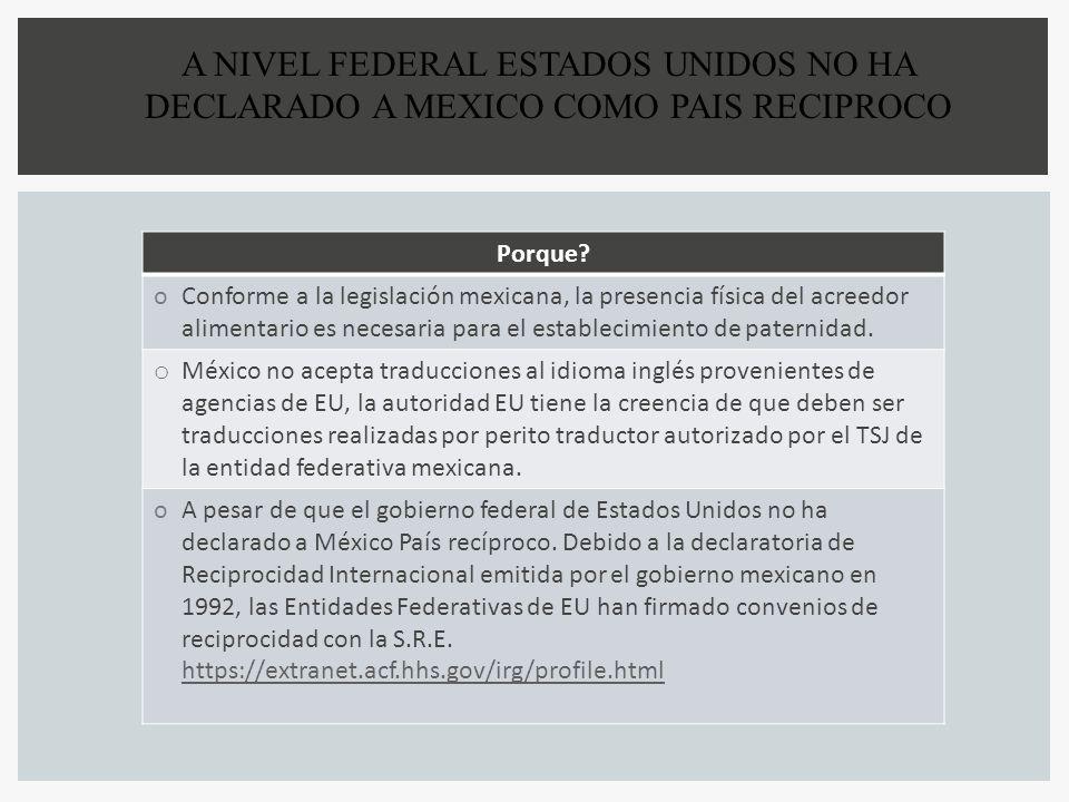 A NIVEL FEDERAL ESTADOS UNIDOS NO HA DECLARADO A MEXICO COMO PAIS RECIPROCO Porque? oConforme a la legislación mexicana, la presencia física del acree