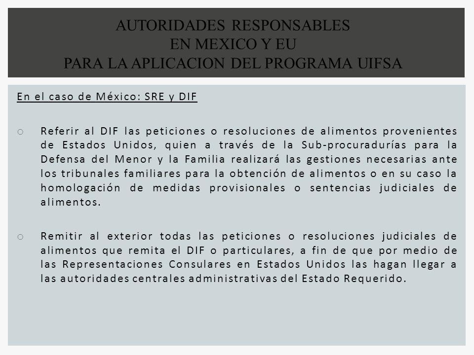 En el caso de México: SRE y DIF o Referir al DIF las peticiones o resoluciones de alimentos provenientes de Estados Unidos, quien a través de la Sub-p