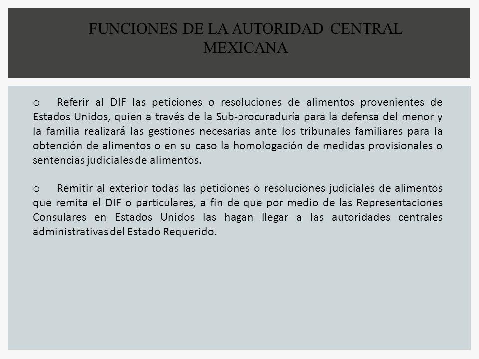 FUNCIONES DE LA AUTORIDAD CENTRAL MEXICANA o Referir al DIF las peticiones o resoluciones de alimentos provenientes de Estados Unidos, quien a través