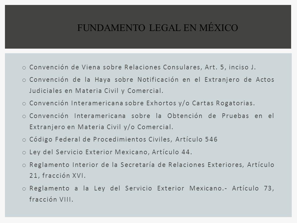 o Convención de Viena sobre Relaciones Consulares, Art. 5, inciso J. o Convención de la Haya sobre Notificación en el Extranjero de Actos Judiciales e