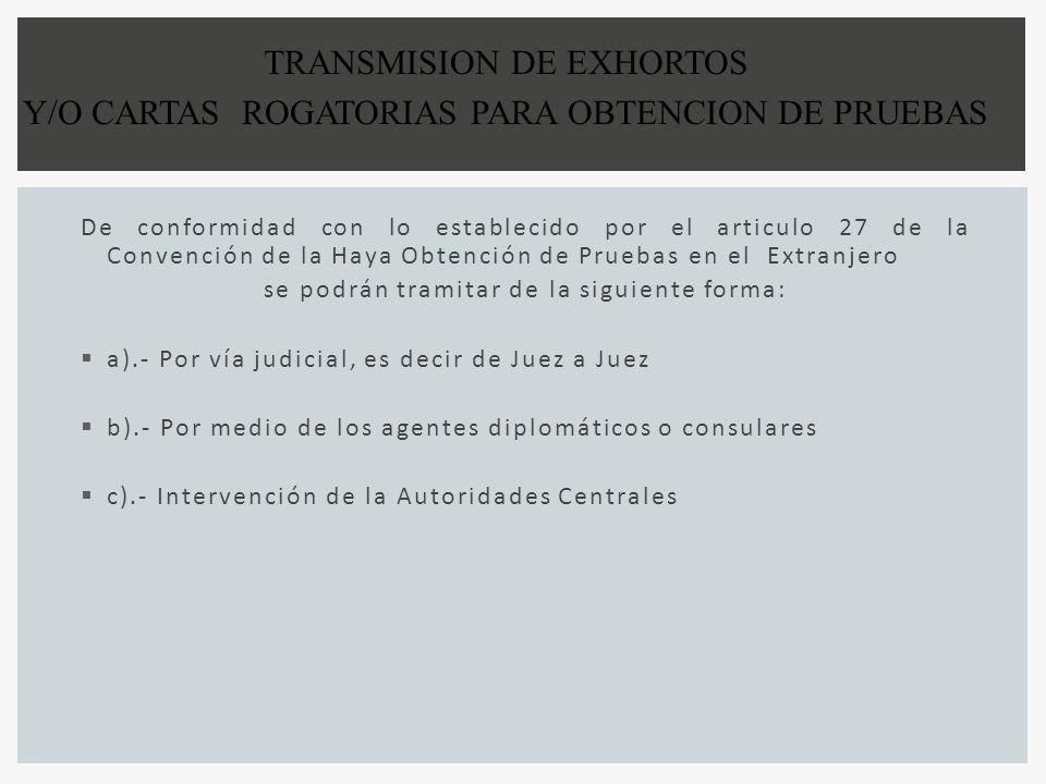 De conformidad con lo establecido por el articulo 27 de la Convención de la Haya Obtención de Pruebas en el Extranjero se podrán tramitar de la siguie