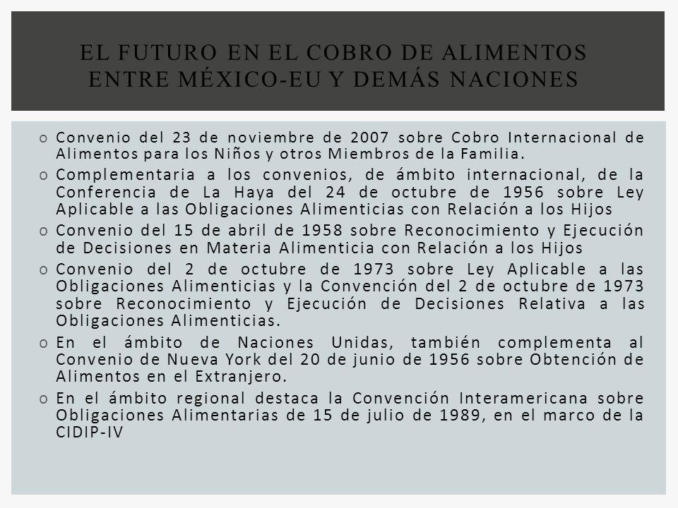 oConvenio del 23 de noviembre de 2007 sobre Cobro Internacional de Alimentos para los Niños y otros Miembros de la Familia. oComplementaria a los conv