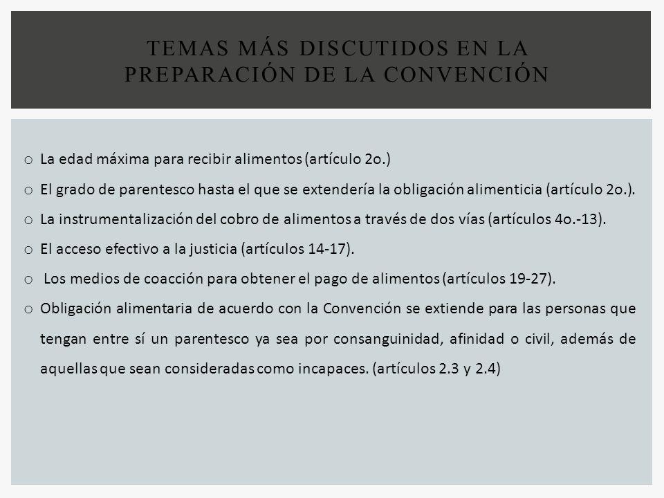 TEMAS MÁS DISCUTIDOS EN LA PREPARACIÓN DE LA CONVENCIÓN o La edad máxima para recibir alimentos (artículo 2o.) o El grado de parentesco hasta el que s