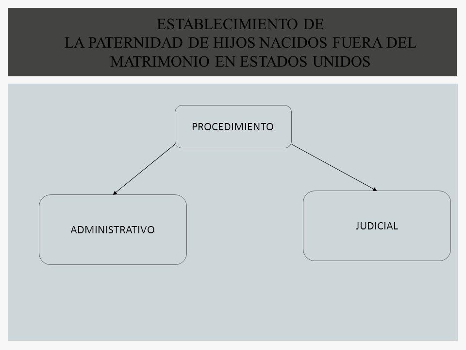 PROCEDIMIENTO ADMINISTRATIVO JUDICIAL ESTABLECIMIENTO DE LA PATERNIDAD DE HIJOS NACIDOS FUERA DEL MATRIMONIO EN ESTADOS UNIDOS