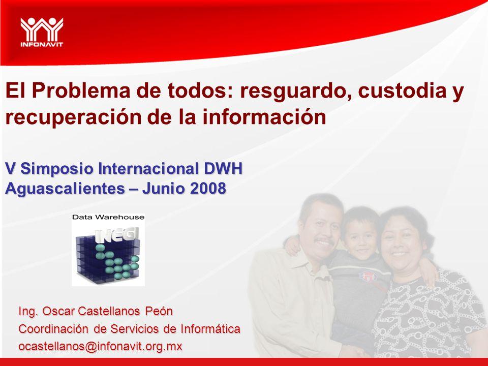V Simposio Internacional DWH Aguascalientes – Junio 2008 El Problema de todos: resguardo, custodia y recuperación de la información V Simposio Internacional DWH Aguascalientes – Junio 2008 Ing.