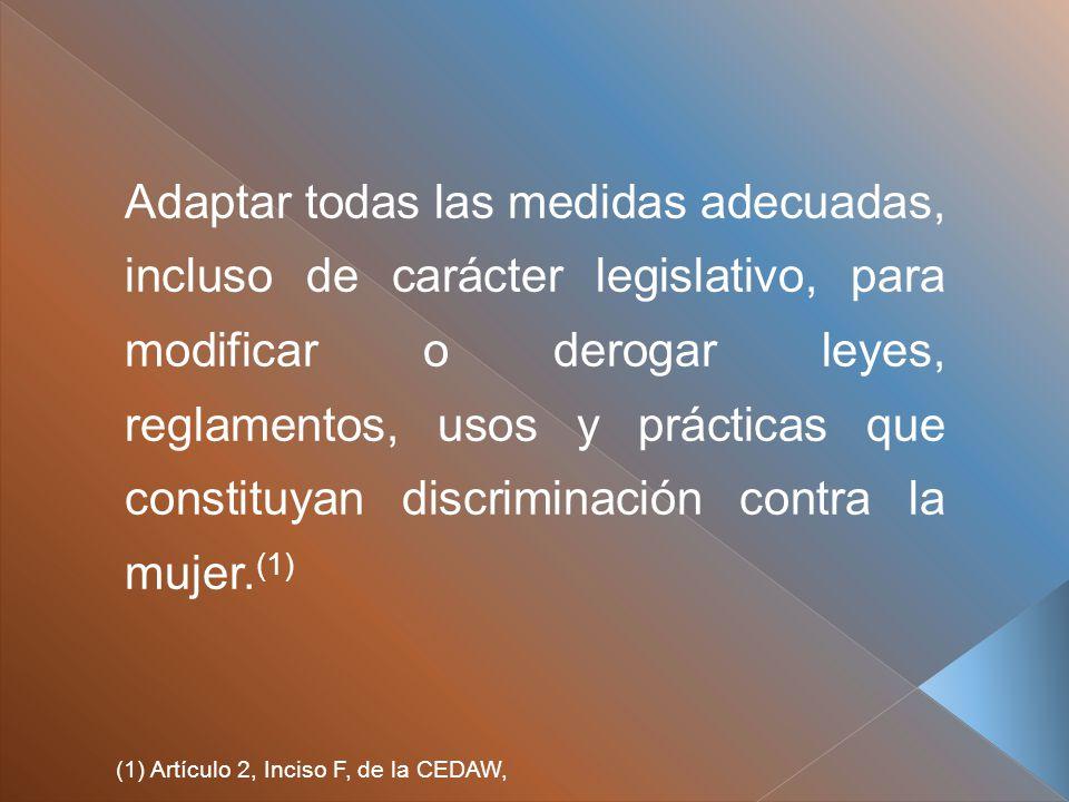Adaptar todas las medidas adecuadas, incluso de carácter legislativo, para modificar o derogar leyes, reglamentos, usos y prácticas que constituyan discriminación contra la mujer.