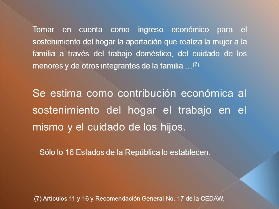 Tomar en cuenta como ingreso económico para el sostenimiento del hogar la aportación que realiza la mujer a la familia a través del trabajo doméstico, del cuidado de los menores y de otros integrantes de la familia … (7).