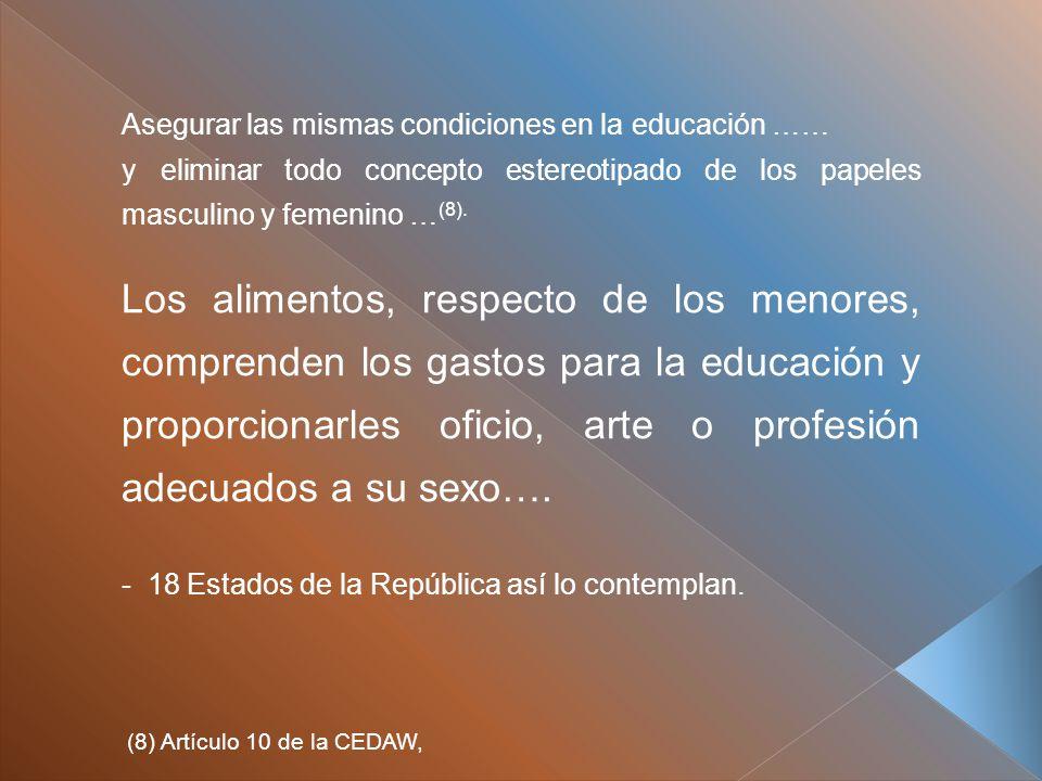 Asegurar las mismas condiciones en la educación …… y eliminar todo concepto estereotipado de los papeles masculino y femenino … (8).