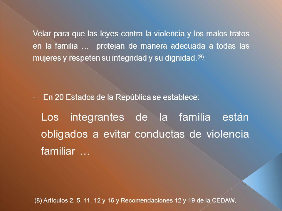 Velar para que las leyes contra la violencia y los malos tratos en la familia … protejan de manera adecuada a todas las mujeres y respeten su integridad y su dignidad.