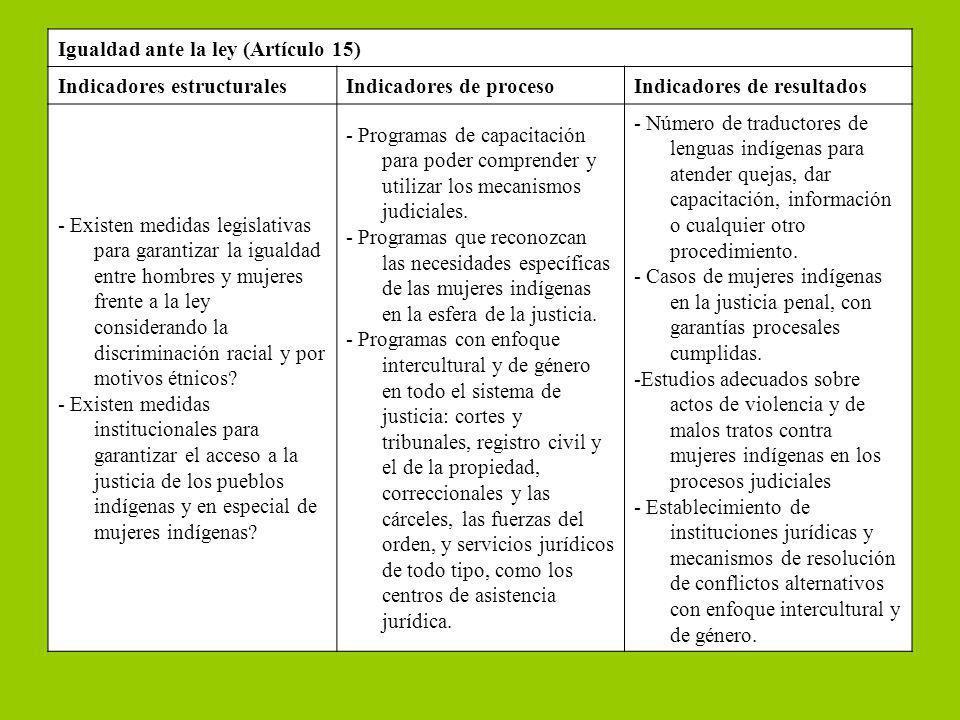 Igualdad ante la ley (Artículo 15) Indicadores estructuralesIndicadores de procesoIndicadores de resultados - Existen medidas legislativas para garant