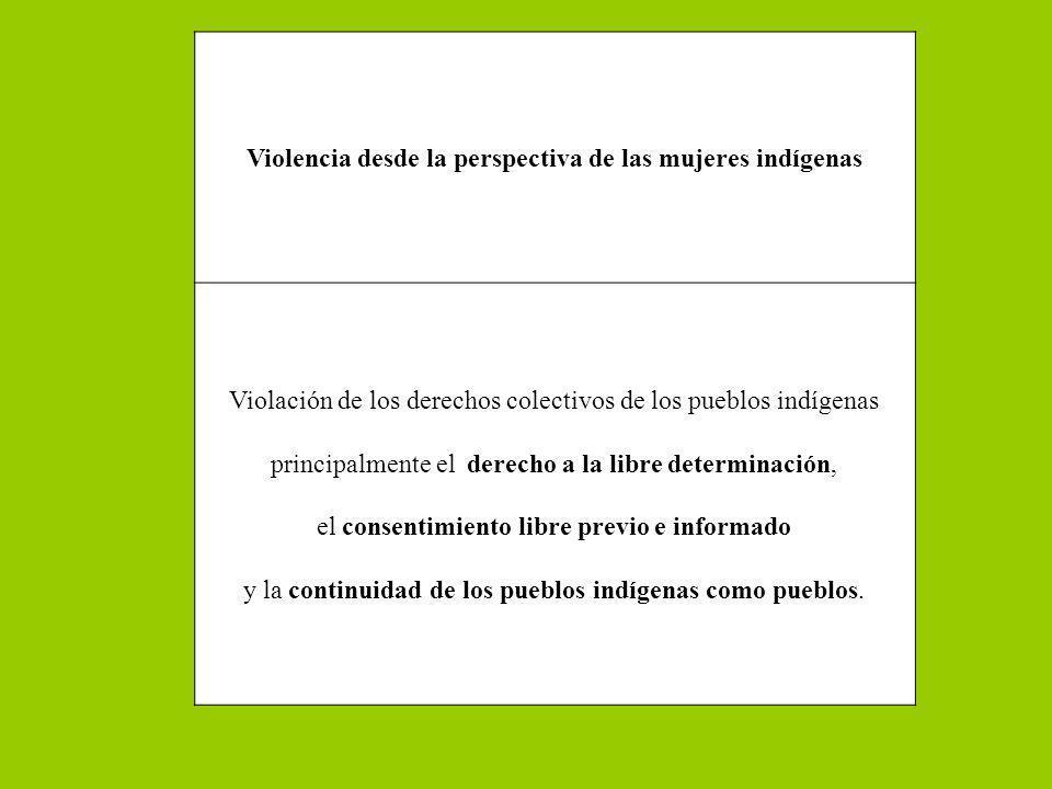 Violencia desde la perspectiva de las mujeres indígenas Violación de los derechos colectivos de los pueblos indígenas principalmente el derecho a la l