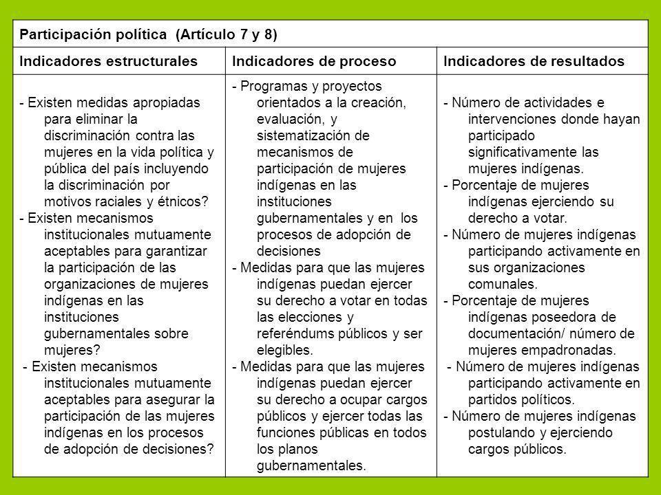 Participación política (Artículo 7 y 8) Indicadores estructuralesIndicadores de procesoIndicadores de resultados - Existen medidas apropiadas para eli