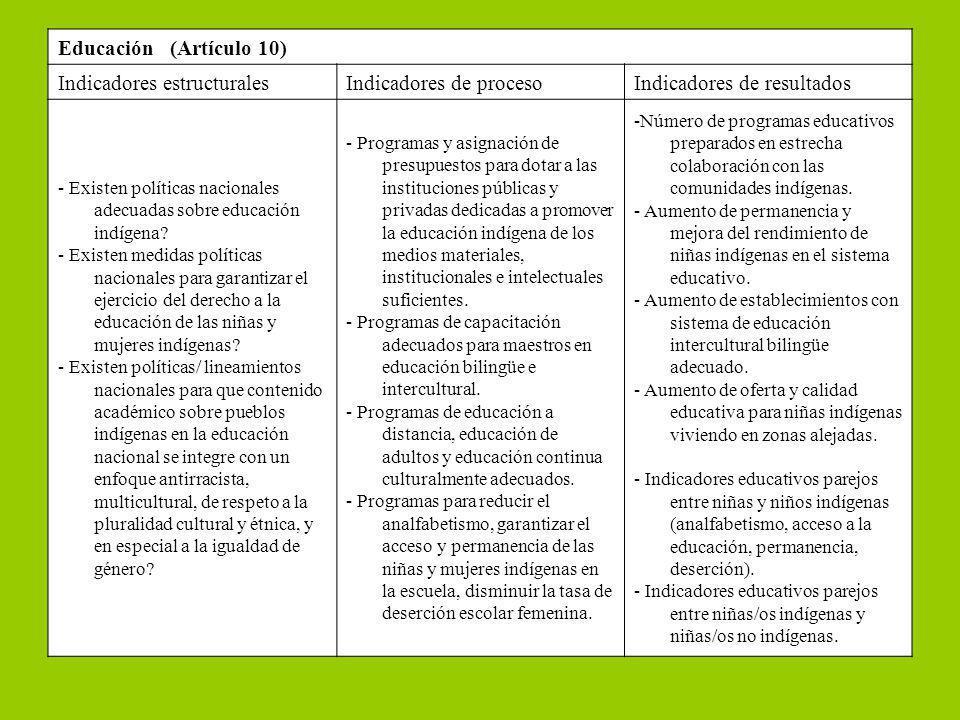 Educación (Artículo 10) Indicadores estructuralesIndicadores de procesoIndicadores de resultados - Existen políticas nacionales adecuadas sobre educac