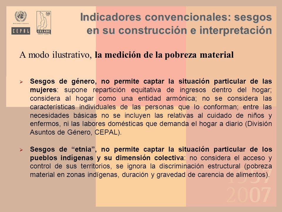 Indicadores convencionales: sesgos en su construcción e interpretación A modo ilustrativo, la medición de la pobreza material Sesgos de género, no per