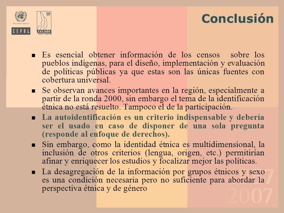 Conclusión Conclusión Es esencial obtener información de los censos sobre los pueblos indígenas, para el diseño, implementación y evaluación de políti