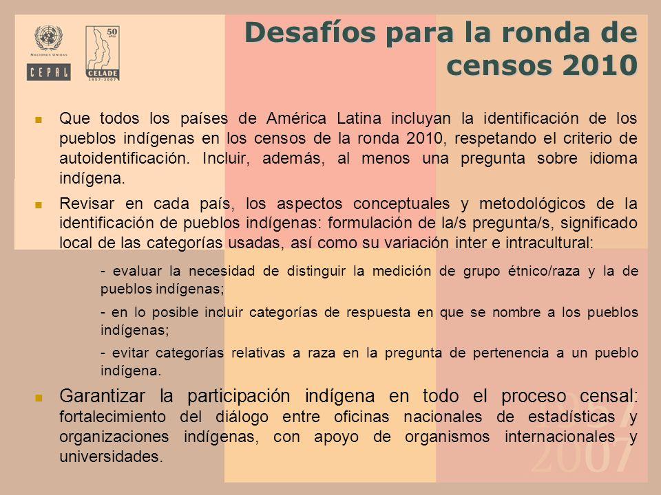 Desafíos para la ronda de censos 2010 Que todos los países de América Latina incluyan la identificación de los pueblos indígenas en los censos de la r