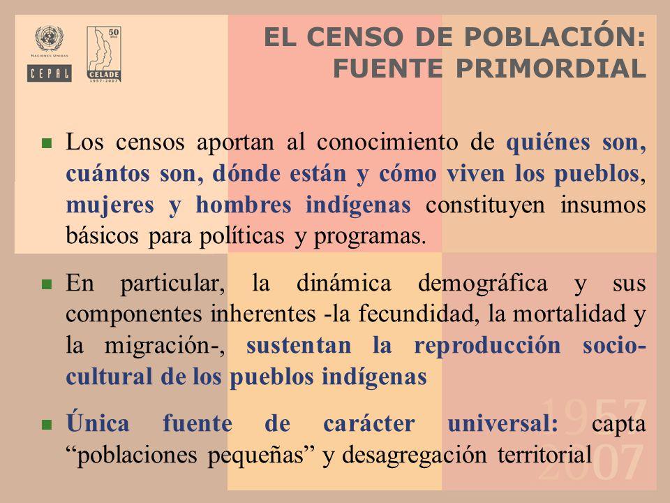 EL CENSO DE POBLACIÓN: FUENTE PRIMORDIAL Los censos aportan al conocimiento de quiénes son, cuántos son, dónde están y cómo viven los pueblos, mujeres