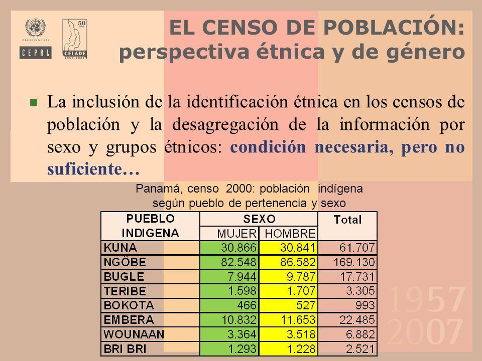 EL CENSO DE POBLACIÓN: perspectiva étnica y de género La inclusión de la identificación étnica en los censos de población y la desagregación de la inf