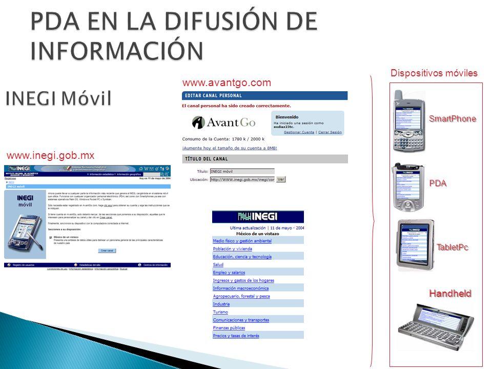 www.avantgo.com Dispositivos móvilesSmartPhone PDA TabletPc Handheld www.inegi.gob.mx