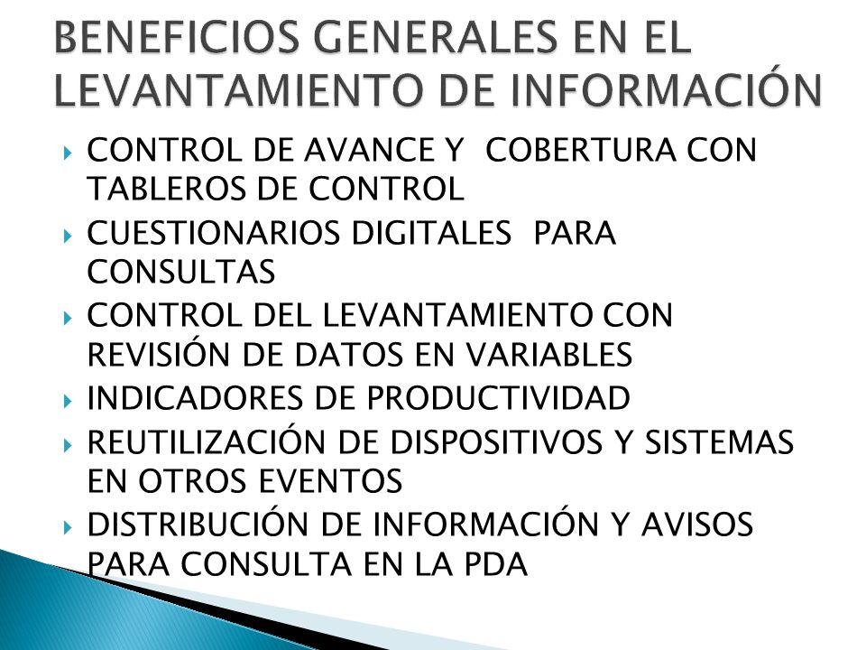 CONTROL DE AVANCE Y COBERTURA CON TABLEROS DE CONTROL CUESTIONARIOS DIGITALES PARA CONSULTAS CONTROL DEL LEVANTAMIENTO CON REVISIÓN DE DATOS EN VARIAB