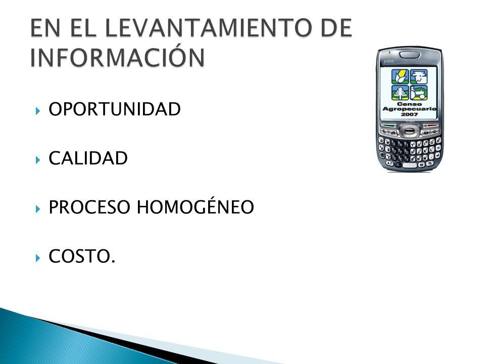 OPORTUNIDAD CALIDAD PROCESO HOMOGÉNEO COSTO.