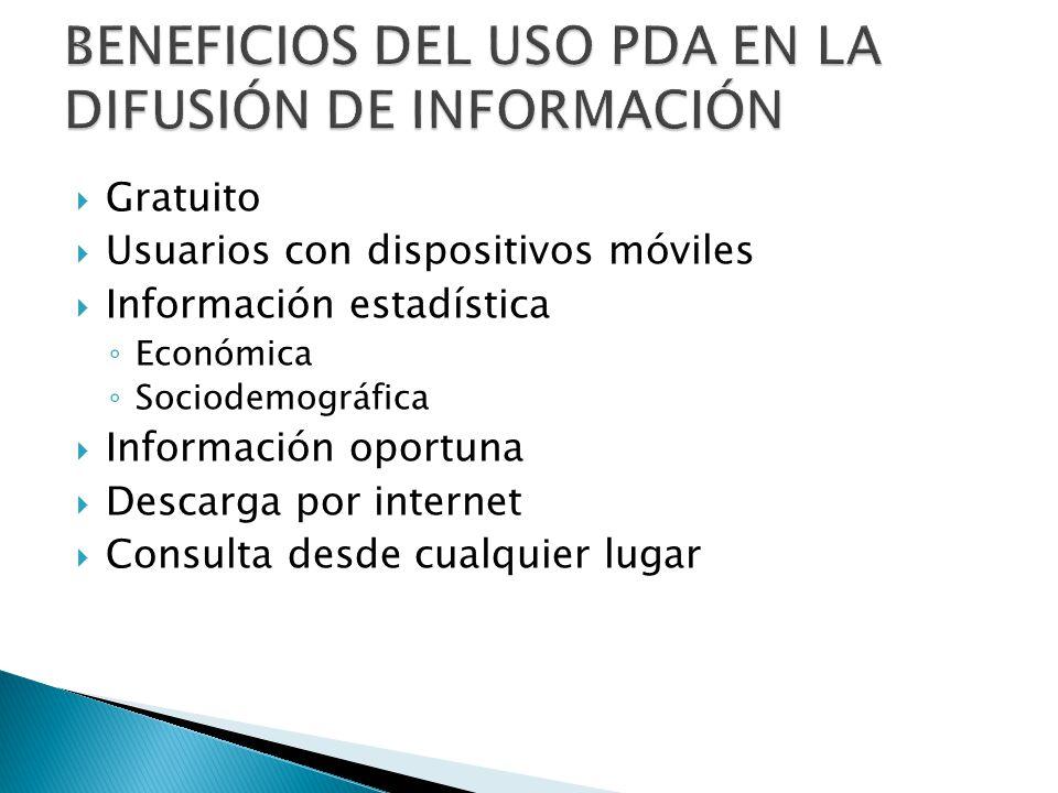 Gratuito Usuarios con dispositivos móviles Información estadística Económica Sociodemográfica Información oportuna Descarga por internet Consulta desd