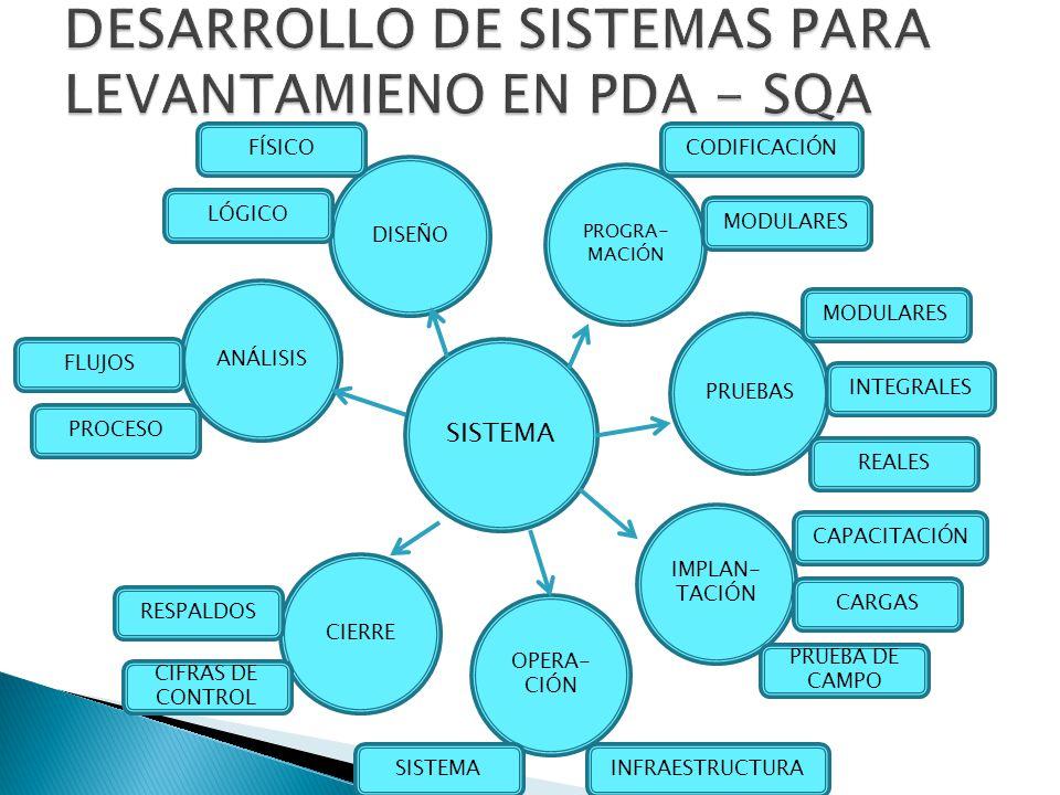 SISTEMA ANÁLISIS DISEÑO PROGRA- MACIÓN PRUEBAS IMPLAN- TACIÓN OPERA- CIÓN CIERRE MODULARES INTEGRALES REALES CAPACITACIÓN INFRAESTRUCTURA PRUEBA DE CA
