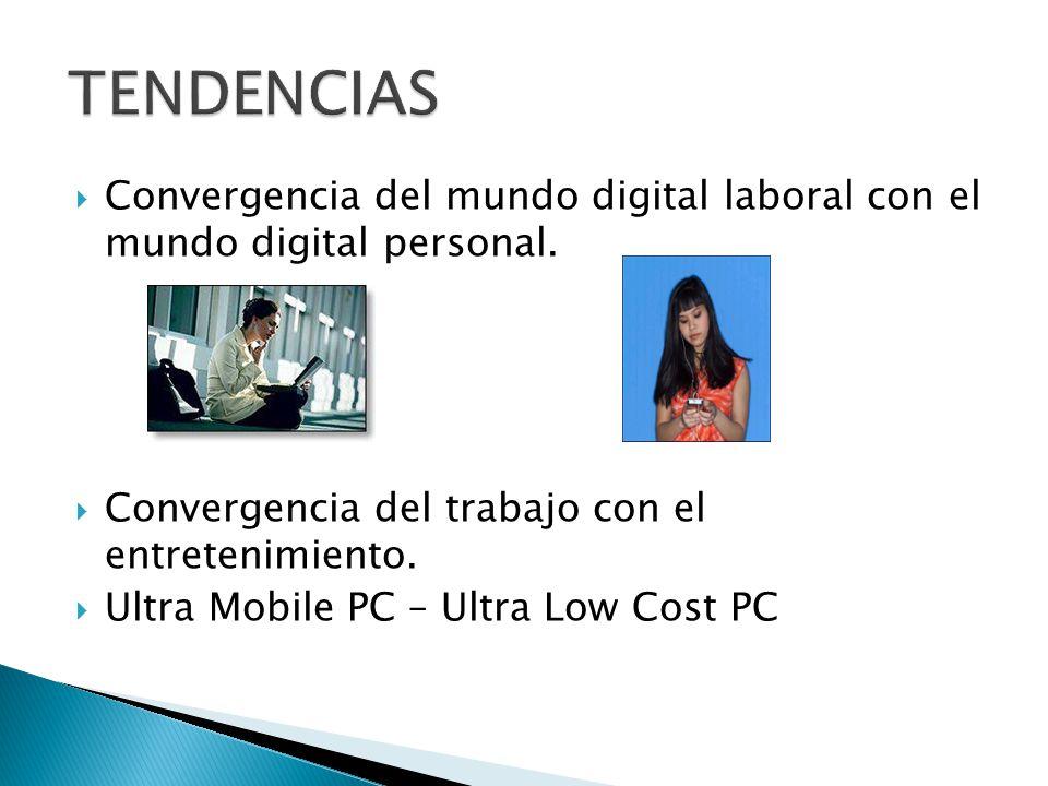 Convergencia del mundo digital laboral con el mundo digital personal. Convergencia del trabajo con el entretenimiento. Ultra Mobile PC – Ultra Low Cos