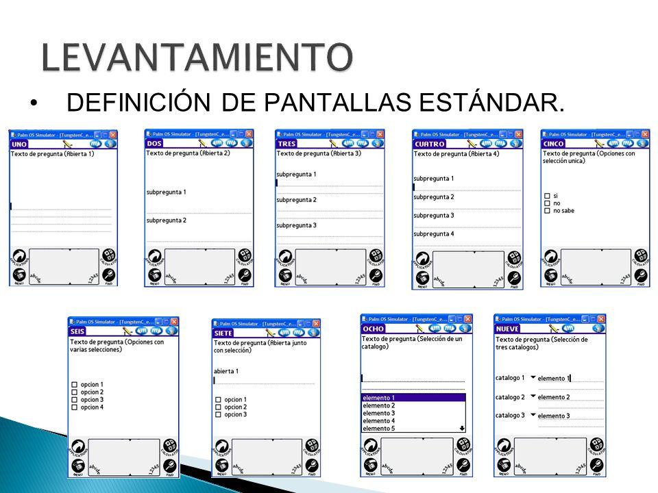 DEFINICIÓN DE PANTALLAS ESTÁNDAR.
