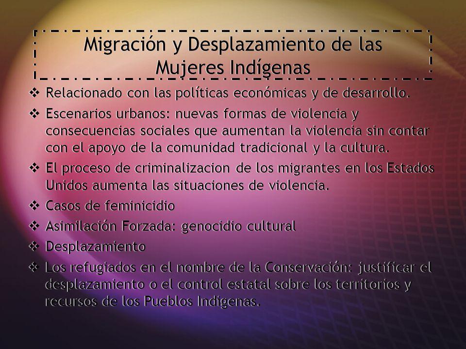 Migración y Desplazamiento de las Mujeres Indígenas Relacionado con las políticas económicas y de desarrollo.