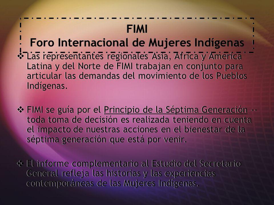 Preocupaciones de FIMI La negación histórica de los derechos de los Pueblos Indígenas Retroceso de los Estados en cuanto a los derechos de las mujeres, los derechos de los Pueblos Indígenas y los derechos humanos La Guerra contra el Terrorismo luego del 11 de Septiembre Definiciones altamente politizadas de Cultura Los Derechos de las Mujeres como una MERCANCIA Los Derechos Sexuales y Reproductivos La negación histórica de los derechos de los Pueblos Indígenas Retroceso de los Estados en cuanto a los derechos de las mujeres, los derechos de los Pueblos Indígenas y los derechos humanos La Guerra contra el Terrorismo luego del 11 de Septiembre Definiciones altamente politizadas de Cultura Los Derechos de las Mujeres como una MERCANCIA Los Derechos Sexuales y Reproductivos